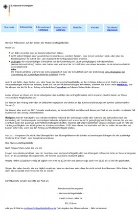 Mutterschaftsgeldstelle des Bundesversicherungsamts (Website-Screenshot www.Mutterschaftsgeld.de am 17.07.2012)