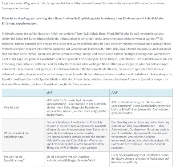 Kuhmilcheiweißallergie: Je nach Stärke der allergischen Reaktion auf Kuhmilcheiweiß / Kuhmilchprotein wird entweder 'nur' extensiv hydrolisierte Säuglingsnahrung verschrieben (eHF) oder aber reine Aminosäure-Gemische (AAF) - Screenshot https://www.nestlehealthscience.de/gesundheitsmanagement/nahrungsmittelallergien/kuhmilchallergie/kuhmilchallergie-ernahrung am 25.04.2017