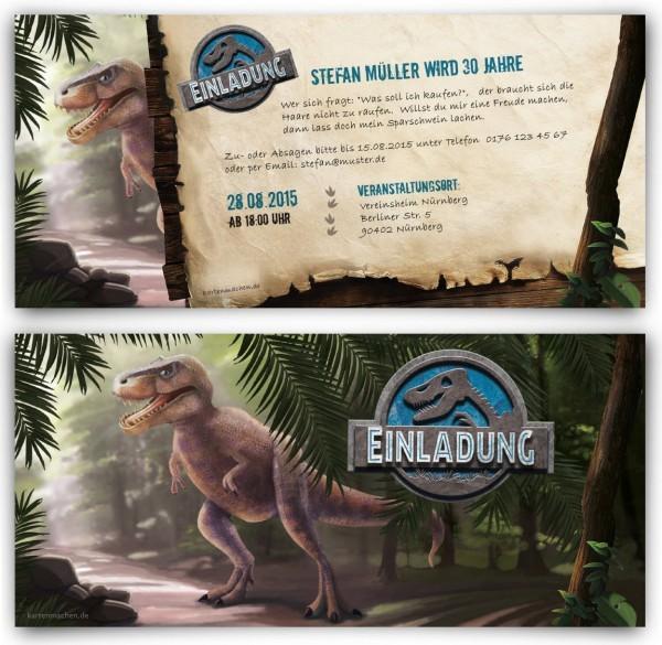 Dinosaurier-Motto-Geburtstagsparty (Screenshot https://www.kartenmachen.de/einladungen-dinosaurier.html am 31.12.2015)