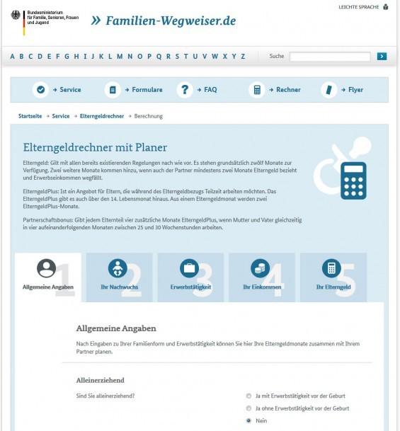 Elterngeldrechner mit Planer: das BMFSFJ bietet unter www.familien-wegweiser.de ein Tool, mit dem man die Verteilung der Elterngeld-Monate simulieren kann