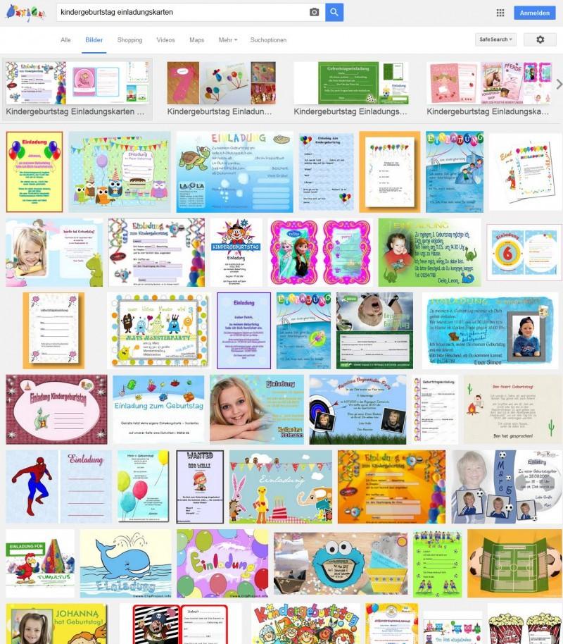 Beispiele für Einladungen zum Kindergeburtstag (Screenshot Google ...