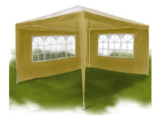 Das günstige Partyzelt lässt sich ganz offen oder mit zum Beispiel auch nur 2 Seitenwänden aufbauen