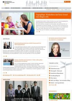 Bundesministerium für Familie, Senioren, Frauen und Jugend (Website Screenshot bmfsfj.de vom 17.07.2012)