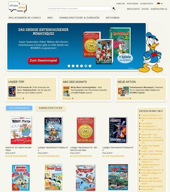 Eine gute Anlaufstelle, um Comics online zu kaufen, ist der Ehapa-Onlineshop unter www.ehapa-shop.de (Screenshot vom 05.09.2013)