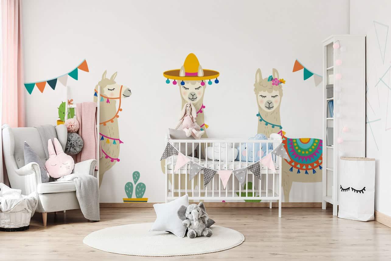 Fototapete im Kinderzimmer Lamas