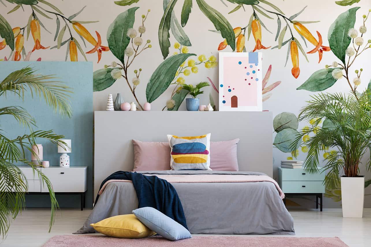 Fototapete tropische Blumen im Jugendzimmer