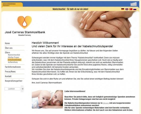 Die José Carreras Stammzellbank am Universitätsklinikum Düsseldorf wirbt um Nabelschnurblutspenden (Screenshot www.stammzellbank.de)