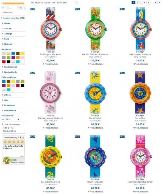 Kinderuhren - eine schöne Auswahl findet man auch bei Uhrzeit.org (Screenshot www.uhrzeit.org/kinderuhren.php am 03.09.2013)