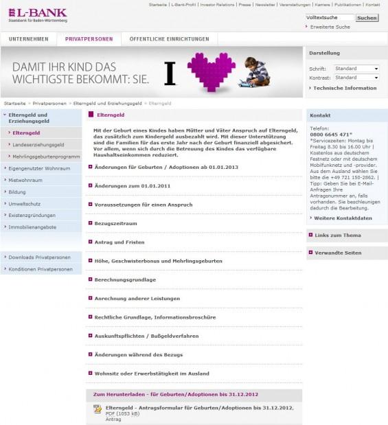 Infos und Anträge zum Elterngeld in Baden-Württemberg (Screenshot www.l-bank.de/lbank/inhalt/nav/privatpersonen/elterngeldunderziehungsgeld/elterngeld.xml?ceid=100383)