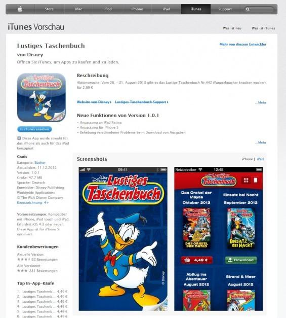 Lustiges Taschenbuch bei iTunes im iBook-Store (Screenshot https://itunes.apple.com/de/app/lustiges-taschenbuch/id442668788?mt=8 am 05.09.2013)
