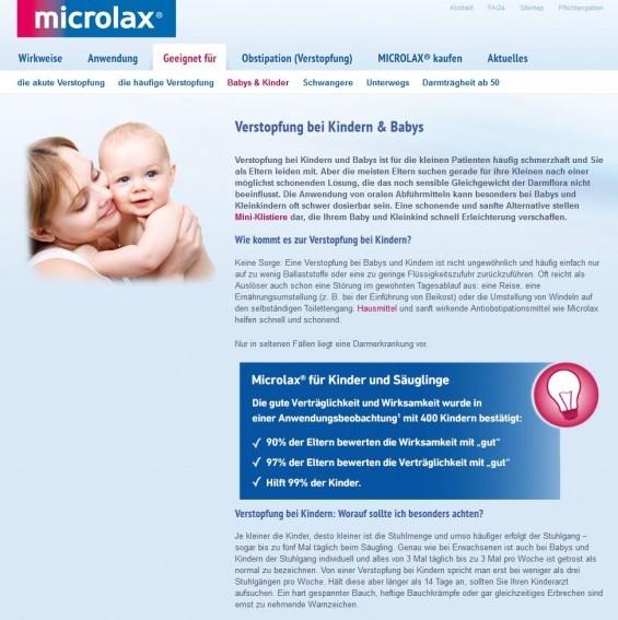 Verstopfung bei Kindern: Einige Arzneimittel wie z.B. das Mittel Microlax® sind sogar für Säuglinge zugelassen (Screenshot www.microlax.de/geeignet-fuer/verstopfung-bei-kindern-und-babys.html)