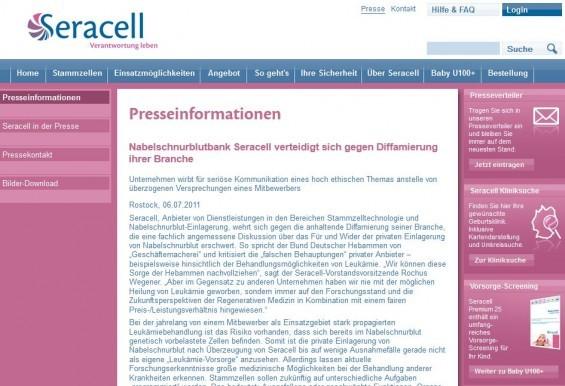 Seracell Nabelschnurblutbank verteidigt sich gegen Diffamierung ihrer Branche (Screenshot der Pressemitteilung von 06.07.2011)
