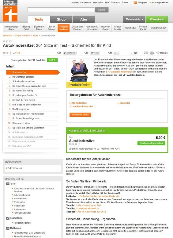 Stiftung Warentest: Autokindersitze im Test und Vergleich am 25.10.2012 (Screenshot www.test.de/Autokindersitze-201Sitze-im-Test-Sicherheit-fuer-Ihr-Kind-1806826-0/)