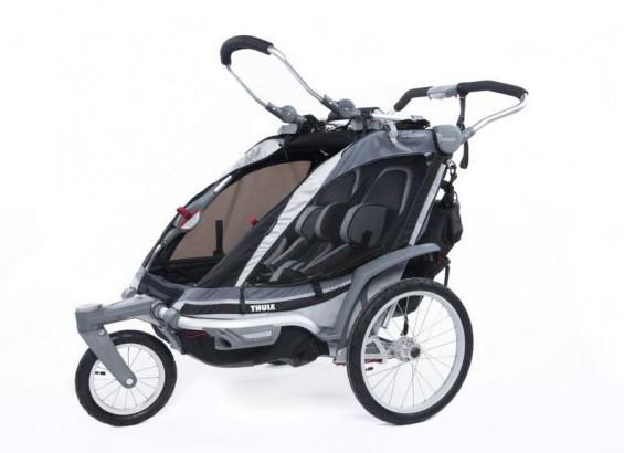 Fahrradanhänger: Thule Chariot Kinderanhänger Chinook 2 + Strollerset anthrazit bei Amazon