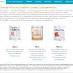 Althéra, Alfaré und Alfamino sind drei Spezialprodukte von Nestlé Health Science, die speziell für Säuglinge mit Kuhmilcheiweißallerige (KMPA) in verschiedenen Kombinationen / Ausprägungen entwickelt wurden (Screenshot https://www.nestlehealthscience.de/gesundheitsmanagement/nahrungsmittelallergien/kuhmilchallergie am 25.04.2017)