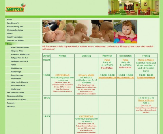 Das Amitola ist in erster Linie ein Familiencafé, bietet aber auch einen Laden, eine Kreativwerkstatt, Theater für Kinder und ein reiches Angebot an Kursen, die man als Eltern mit seinem Baby / Kleinkind besuchen kann. Kursübersicht unter www.amitola-berlin.de/kurse.html