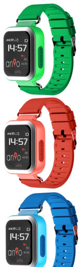 Die ANIO 3 TOUCH Kindersmartwatch gibt es rot, blau und grün