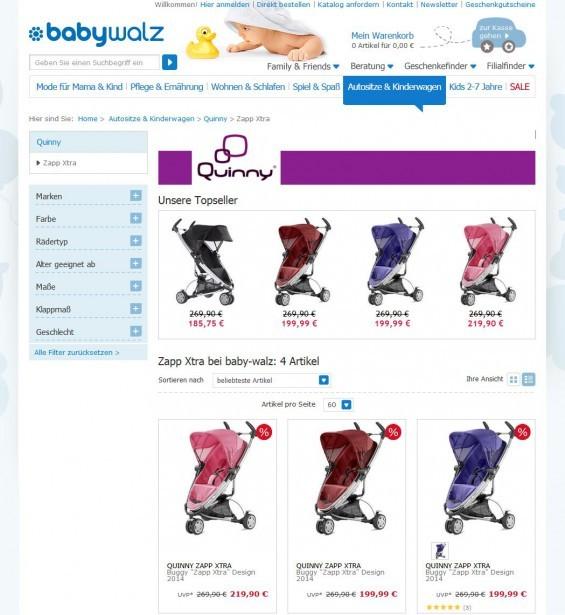 Amazon ist sicher ein günstiger Klassiker als Bezugsquelle für einen neuen Quinny ZappXtra - aber auch alle anderen gängigen Baby-Shops haben das überzeugende Teil im Angebot, hier Babywalz (Screenshot 29.07.2014)