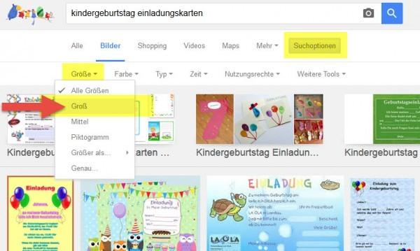 Vorlagen für Kindergeburstags-Einladungskarten: Suchen Sie in der Google Bildersuche und stellen Sie die Suchoptionen auf Größe > Groß