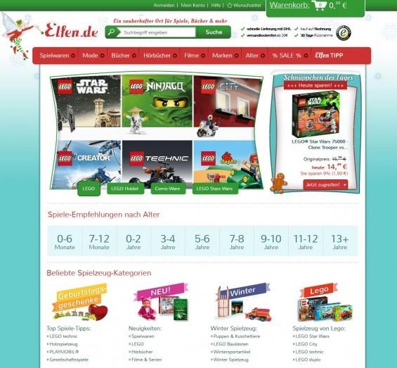 Schon auf der Startseite des Spielzeug-Shops elfen.de findet man Spiele-/Geschenk-Empfehlungen nach Alter des Kindes (Screenshot 08.01.2014)
