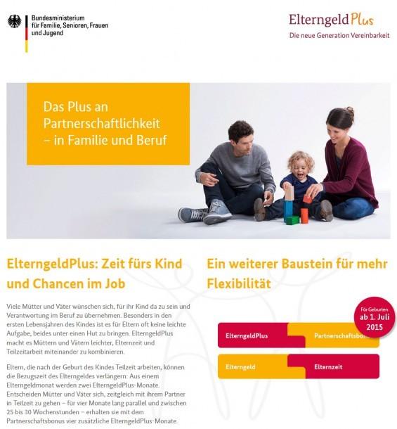 Elterngeld Plus: Offizielle Website vom Bundesministerium für Familie, Senioren, Frauen und Jugend (Screenshot www.elterngeld-plus.de am 30.11.2015)