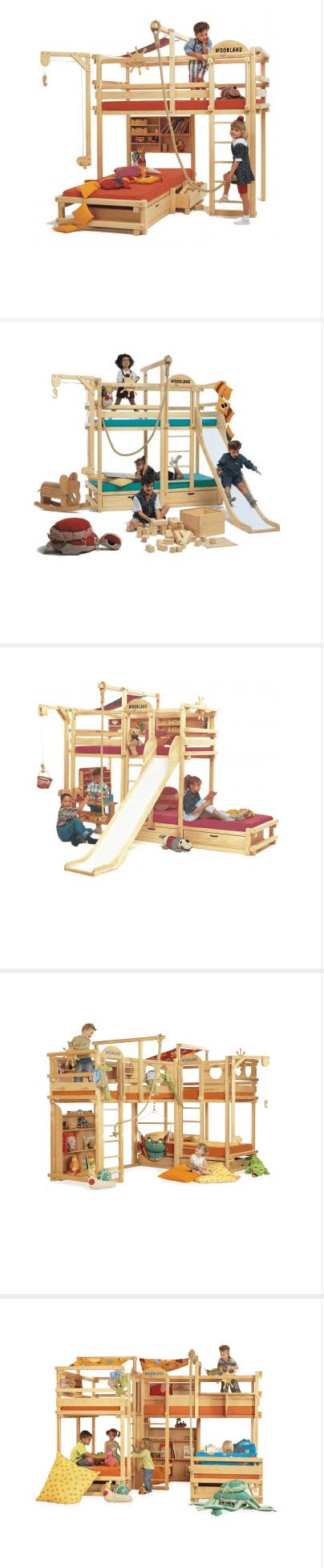 Nicht nur Bett, sondern schon fast Abenteuerspielplatz: Etagenbetten / Hochbetten bei woodland.de (Screenshot https://www.woodland.de/kindermoebel/etagenbetten.html am 10.02.2015)