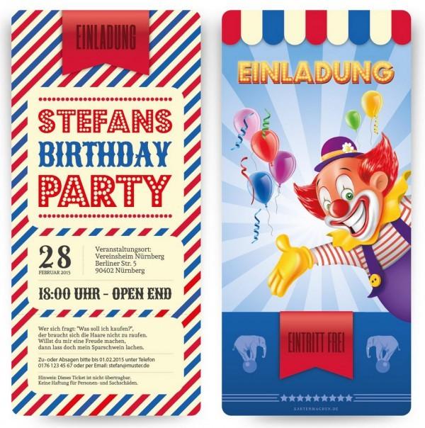 Einladungskarte zum Kindergerburtstag im Clown-Motiv (Screenshot https://www.kartenmachen.de/einladungskarte-als-eintrittskarte-zirkus.html am 31.12.2015)