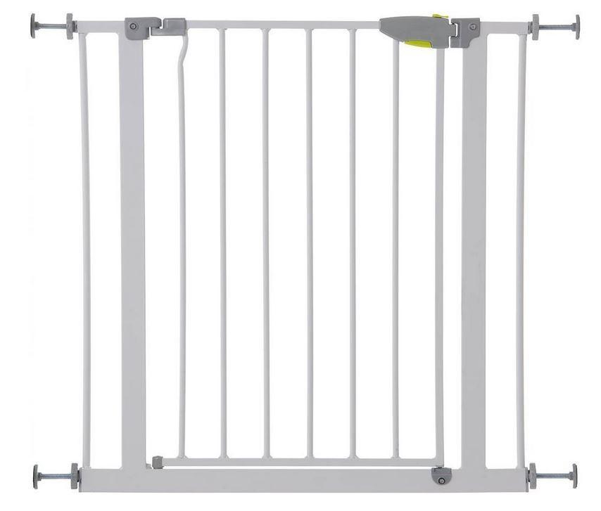 Türschutzgitter: Das Hauck Squeeze Handle Safety Gate versperrt Treppen oder Türdurchgänge mit einer Breite von 75-81cm (Amazon)