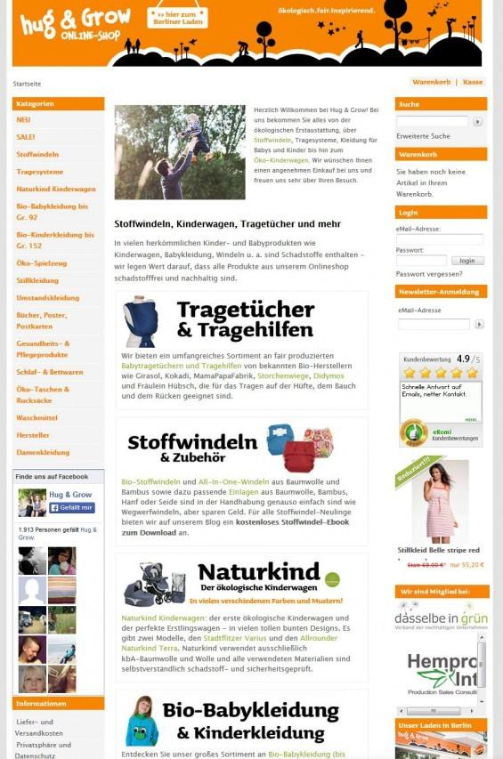 """Eltern mit Öko- und Bio-Faible finden sich bestimmt im Shop von """"Hug and Grow"""" wieder; es gibt einen Onlineshop und ein Berliner Ladenlokal (www.hug-and-grow.de)"""