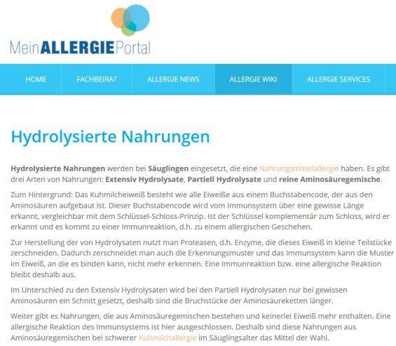 Hydrolysierte Nahrungen werden bei Säuglingen eingesetzt, die eine Nahrungsmittelallergie haben. Es gibt drei Arten von Nahrungen: Extensiv Hydrolysate, Partiell Hydrolysate und reine Aminosäuregemische. (Screenshot http://www.mein-allergie-portal.com/allergie-wiki/449-hydrolysierte-nahrungen.html am 25.04.2017)