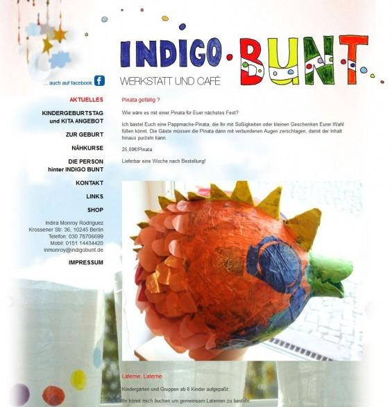 Das INDIGO BUNT ist ein Näh- und Bastelcafé in Berlin-Friedrichshain. Die Inhaberin kommt mit ihrer mobilen Bastelwerkstatt auch zu Kindergeburtstagen nach Hause. (www.indigo-bunt.de)