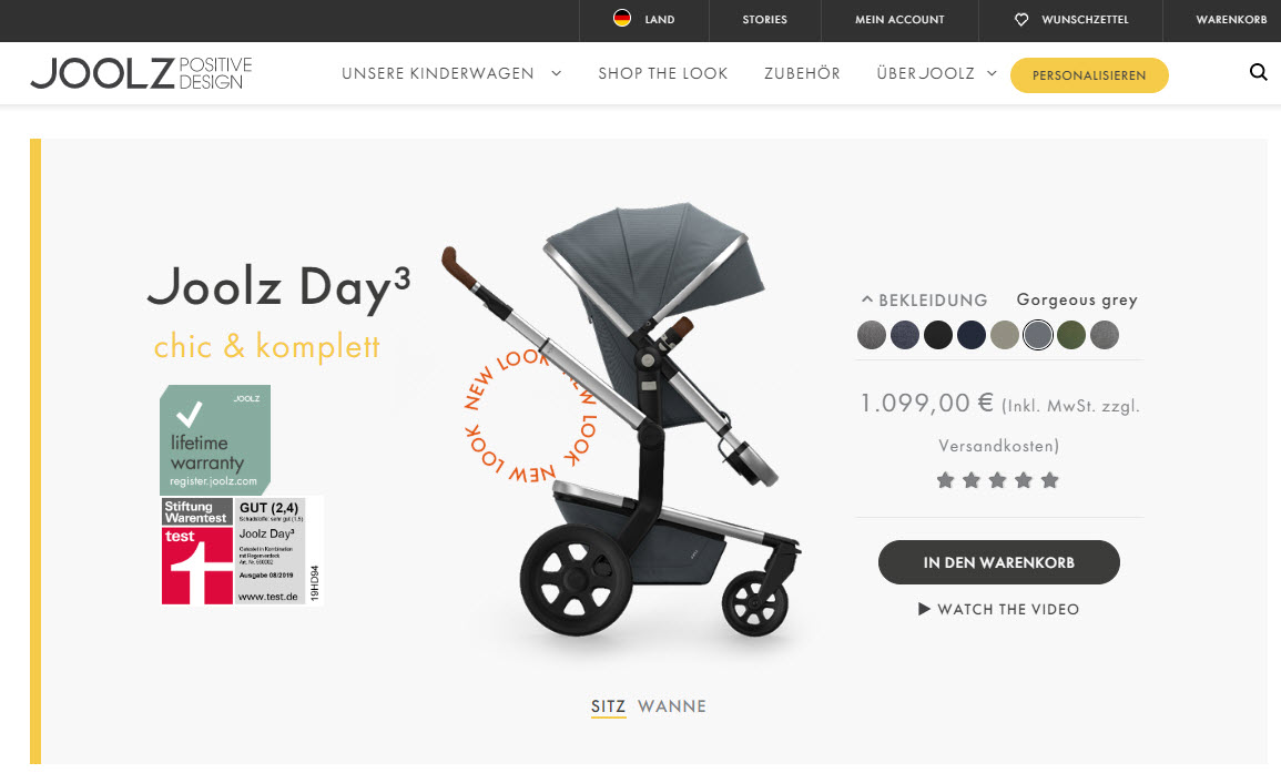 Joolz Day3 Kinderwagen (Screenshot my-joolz.de/model/joolz-day3/ am 30.08.2019)