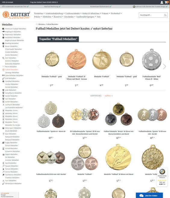 Zu Stückpreisen von rund 1 EUR kann man individuelle Medaillen für Kinder bestellen - mit gewünschtem Sportmotiv/Emblem und auch Text/Namen (Screenshot vereinsbedarf-deitert.de am 24.09.2020)