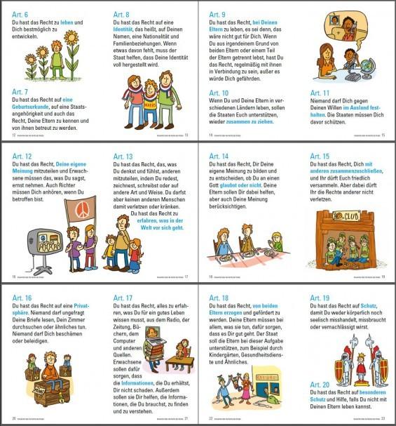 Der PEKiP-Verein setzt sich für die Kinderrechte ein und verlinkt auf eine von Unicef Deutschland besonders kinderfreundlich formulierte und gestaltete Version der Kinderrechte laut UN-Kinderrechtskonvention