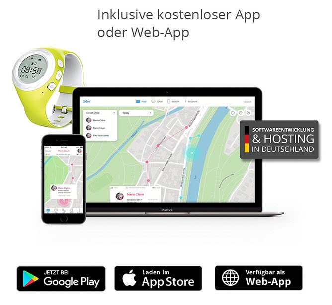Lokato Kinderuhr mit GPS Tracker und App zur Kinderortung (Amazon)