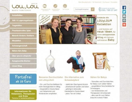 LOUyLOU: Neben dem Onlineshop für ihre ganz speziellen Produkte veranstalten Mitarbeiter von LOUyLOU auch regelmäßig Infoworkshops für Eltern zu Babyfragen inkl. Nähkurse für z.B. individuelle Stillkissen, Ring Sling, Hängewiege oder Pucksack