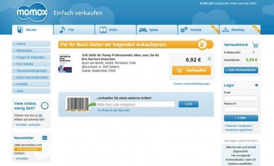 Beispiel: Momox bietet uns für ein gebrauchtes Buch zum Thema Soft Skills noch 6,92 EUR Ankaufspreis (Screenshot 19.03.2014)