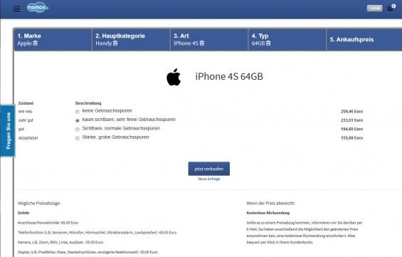 Für unser altes iPhone 4S bietet uns momox.de noch immerhin 233 EUR (Screenshot 19.03.2014)