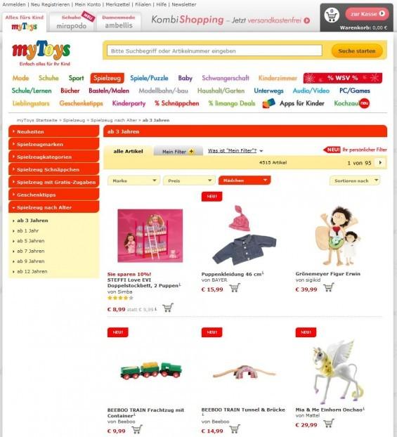 Der Spielwaren-Shop myToys.de schlägt ganz andere Spielwaren für Mädchen im Alter von 3+ Jahren vor (Screenshot 08.01.2014)