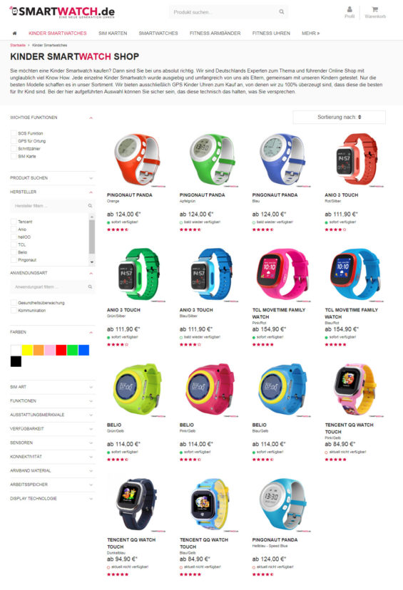 Der Onlineshop smartwatch.de hat sich auf Kinder-Smartwatches spezialisiert (Screenshot smartwatch.de/kinder-smartwatch/ vom 05.06.2018)