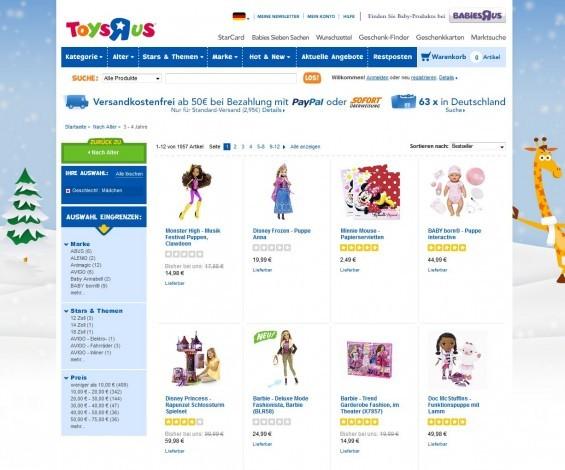 Toys-R-us: Spielzeug Geschenkideen für Mädchen im Alter von 3-4 (Screenshot http://www.toysrus.de/refinement/index.jsp?categoryId=4033781&f=PAD&fg=Geschlecht&fv=Boy+Girl%2FM%C3%A4dchen&fd=M%C3%A4dchen am 08.01.2014)