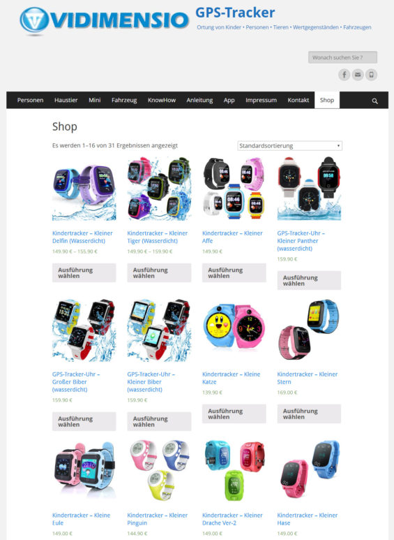 Vidimensio bietet verschiedene Modelle von Kinder-Smartwatches mit GPS-Ortungsfunktion an (Screenshot https://trackers.vidimensio.de/shop am 12.07.2018)