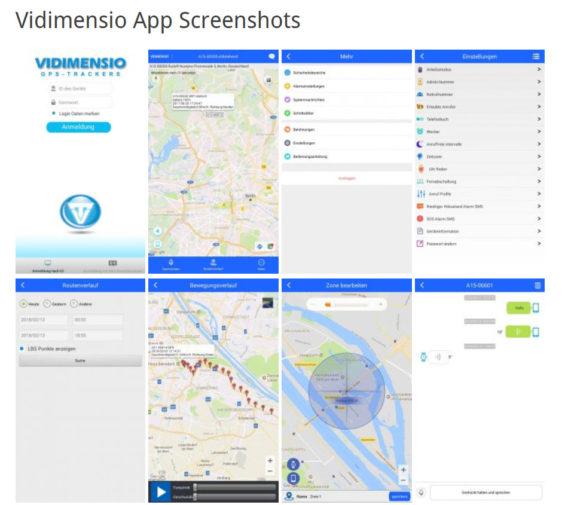 Screenshots der Vidimensio App - So können Sie den Smartwatch-Uhren-Träger per App lokalisieren und überwachen (https://trackers.vidimensio.de/vidimensio-app-screenshots am 12.07.2018)