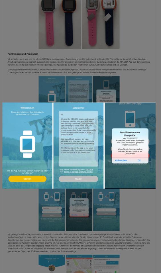 XPLORA Smartwatch für Kinder (GPS Ortung des Kindes): Auf smartwatch.de gibt es einen ausführlichen Testbericht inkl. Screenshots der App-Einrichtung